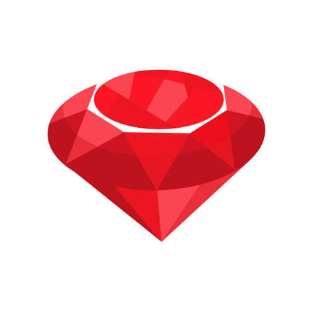ruby stone: Ruby red jewelry. Vector illustration of precious gem stone in flat style isolated on white backgrond