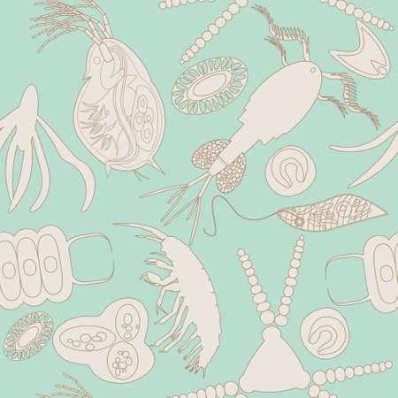 Plankton seamless pattern. Vector illustration avec petit organisme à la fois le phytoplancton et le zooplancton. Idéal pour tissu, textile, toile de fond, papier peint, papier d'emballage sur le thème de l'environnement de nature biologique. Vecteurs