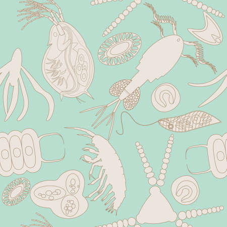 protozoan: Plankton seamless pattern. Vector illustration with small organism both phytoplankton and zooplankton. Ideal for fabric, textile, backdrop, wallpaper, wrapping paper on environmental biological nature theme.