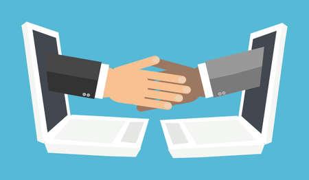 Blockchain concept met hanshake van laptop screen.Vector illustratie van blok keten technologie, veilige e-business, digitaal financiën operaties, e-commerce. gedistribueerde database, samenwerking.