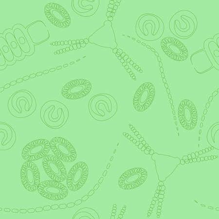 plancton: Modelo incons�til de plancton. Ilustraci�n del vector con peque�o organismo de fitoplancton. Ideal para tela, materia textil, fondo, papel pintado, papel de embalaje en el tema de la naturaleza biol�gica del medio ambiente.
