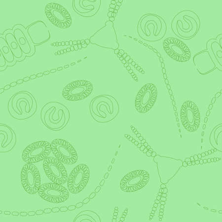 protozoan: Plankton seamless pattern. Vector illustration with small organism of phytoplankton . Ideal for fabric, textile, backdrop, wallpaper, wrapping paper on environmental biological nature theme. Illustration