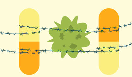 bacilli: Dangerous bacteria concept. Vector illustration of superbug with antibiotics resistance restrained by barbed wire and pills