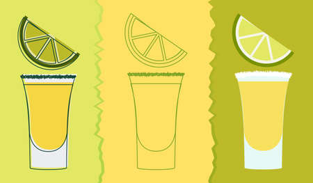 lime slice: Tequila shot drink. Vector illustration of alcohol beverage in traditional glass with salt and lime slice. Decoration for bar menu, national day, cocktail party invitation card.