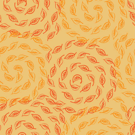 seasonal greeting: Autumn leaves spiral seamless pattern. Vector illustration for seasonal greeting card template, hello autumn background in yellow and red colors Illustration