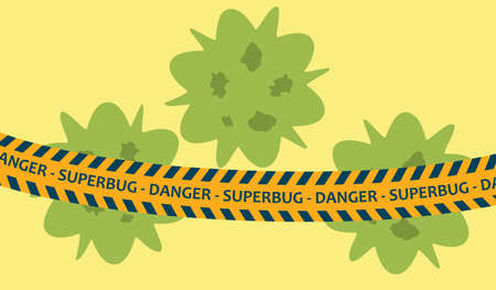 Dangerous bacteria concept. Vector illustration of superbug with antibiotics resistance restrained by police tape