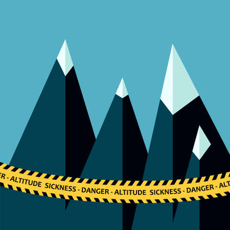 Altitude sickness mountains concept with police tape warning. Vector illustration for high above sea level disease, hypoxia, breathing problems while climbing, hiking sport Illustration