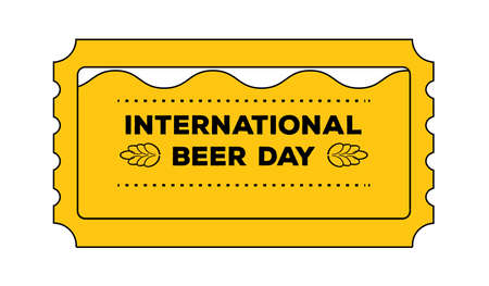 admit: International beer day concept as admit one ticket. Vector illustration of style pass coupon for alcohol beverage celebration, oktoberfest