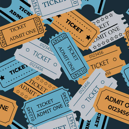 admit: Ticket admit one seamless pattern. Vector illustration of theatre, cinema, concert old style pass coupon of pale paper colors on dark background
