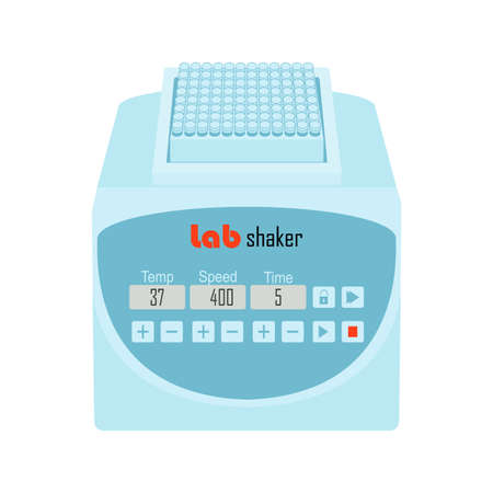 Lab equipment shaker with 96 sell plate. Vector illustration for laboratory instrument in health research, medical analysis and science, pcr, medicine, molecular biology