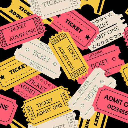 admit one: Ticket admit one seamless pattern. Vector illustration of theatre, cinema, concert old style pass coupon of pink, yellow, pale paper colors on dark background Illustration