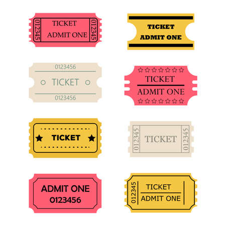 admit one: Ticket admit one set. Vector illustration of theatre, cinema, concert old style pass coupon of pink? yellow, pale paper colors isolated on white background Illustration
