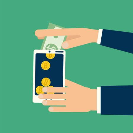 Manos que sostienen el teléfono inteligente convierten billete de un dólar al Bitcoin monedas. Ilustración del vector en dinero virtual, negocio en línea, comercio, finanzas intercambio de estilo plano