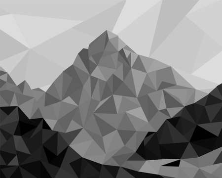 mountain view: Mountain view in modern low poly style in grey colors