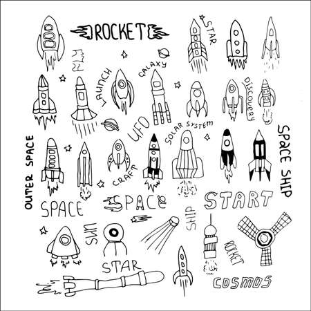 spacecraft: Set of hand drawn rockets. Vector illustration for outer space ship, spacecraft, satellite, comet in cartoon style