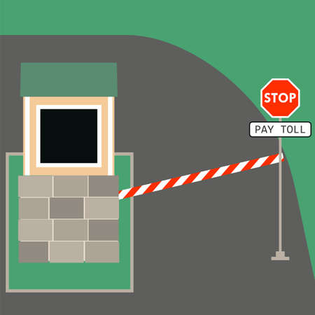 checkpoint: Toll booth with stop sign. Vector illustration of traffic checkpoint, security control, roads Illustration