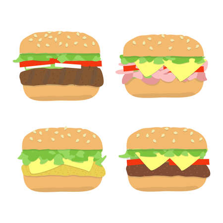 Burger set with most popular types of cheeseburger, hamburger, chicken steak with bread roll, lettuce, tomato, cheese