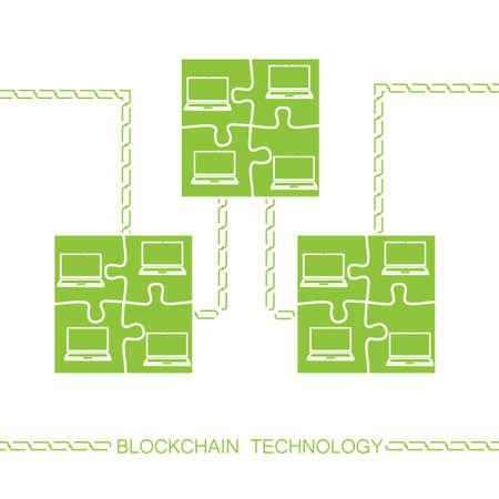 Blockchain technologie concept. Laptops vormen puzzel blok verbonden door keten. Vector illustratie van gedistribueerde database voor webbeveiliging, cryptografie, virtueel geld, veilige e-business.