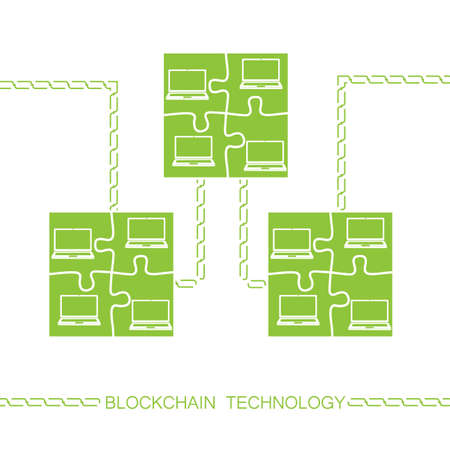 cryptography: Blockchain technology concept. Laptops forming jigsaw puzzle block connected by chain. Vector illustration of distributed database for web security, cryptography, virtual money, secure e-business.