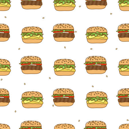 deli sandwich: Seamless pattern with hamburger cheeseburger Illustration