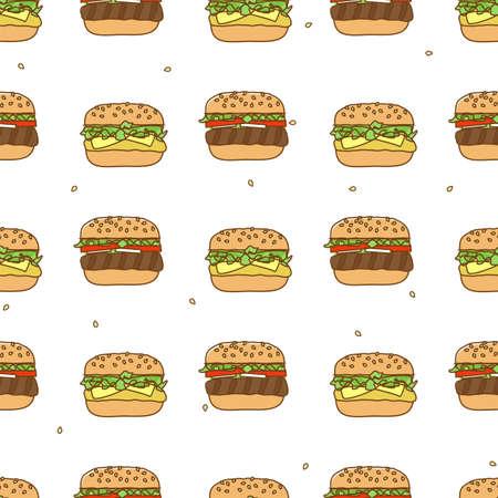 hoagie: Seamless pattern with hamburger cheeseburger Illustration