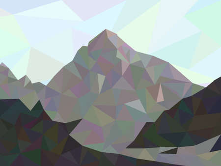 mountain view: Mountain view in modern low poly style