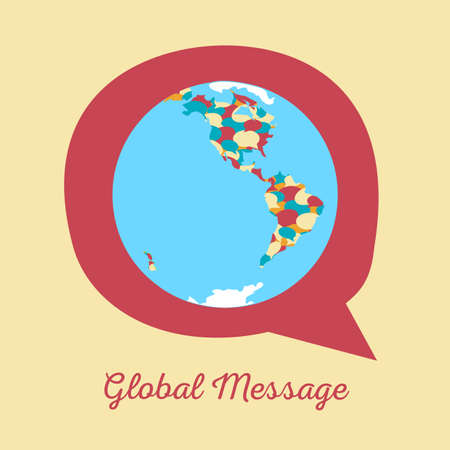 globalization: Global message concept. Vector illustration of earth globe with continents formed by chat clouds of bright colors on messaging icon fr network, communication, international talk, globalization.