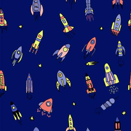 caricatura mosca: sin patrón, con cohetes dibujados a mano. Ilustración del vector para la nave del espacio exterior, naves espaciales, satélites, cometas en el estilo de dibujos animados de color brillante para los niños