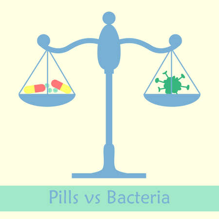 bacilli: Antibiotics vs bacteria libra concept. Vector illustration of pill against infection