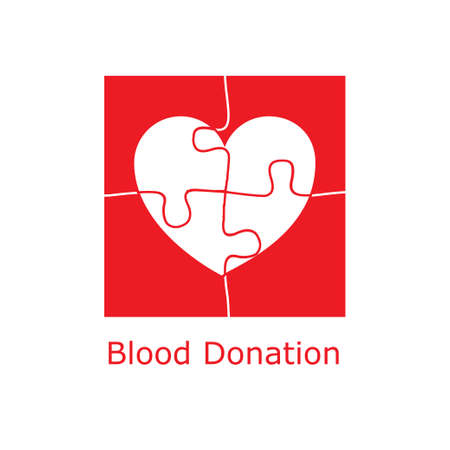 heart puzzle: Blood donation logo concept with heart made of puzzle pieces. Vector illustration for blood transfusion, charity in healthcare