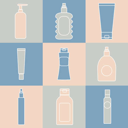 moisture: Cosmetics packaging icons. Vector illustration of cream bottles, lotion, soap, moisture container, perfume jug isolated. Beauty and bodycare set. Flat style