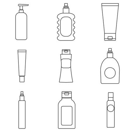 moisture: Cosmetics packaging outline icons. Vector illustration of cream bottles, lotion, soap, moisture container, perfume jug isolated. Beauty and bodycare set. Illustration