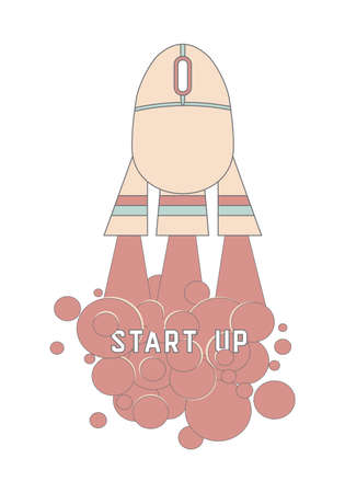 Start up concept with a computer mouse becoming a launching rocket . Vector illustration for new business, web product, innovation in IT sphere Illustration