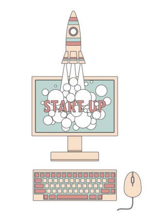 product innovation: Start up concept with a rocket launching from computer screen. Vector illustration for new business, web product, innovation