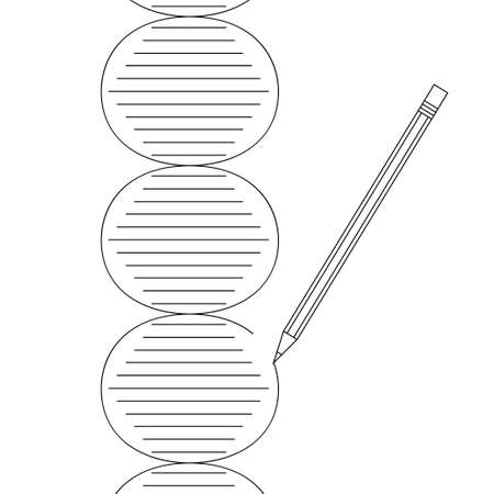 erased: Gene therapy concept. Vector illustration of DNA helix erased and drawn by pencil in black outline on white background Illustration