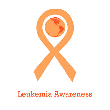 International day of leukimia awareness vector illustration with orange ribbon traditional symbol and earth globe in similar colors. Perfect for badges, banners, ads, flyers social campaign, charity events on cancer problem