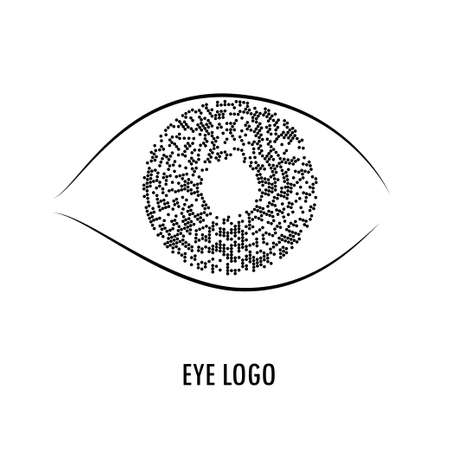 cryptography: Eye with iris formed by circles Vector illustration for company in web, internet security, medicine, cryptography, cyborg, robot.