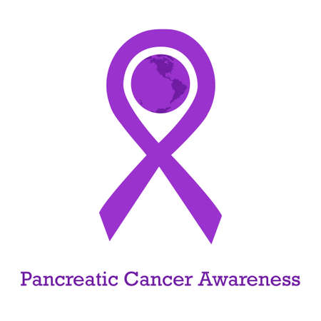 International day of pancreatic cancer awareness vector illustration with violet purple ribbon traditional symbol and earth globe in similar colors. Perfect for badges, banners, ads, flyers on oncology problem