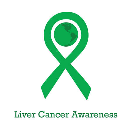 International day of liver cancer awareness vector illustration with green ribbon traditional symbol and earth globe in similar colors. Perfect for badges, banners, ads, flyers social campaign, charity events on oncology problem Illustration