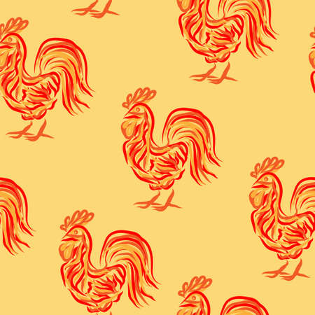 wrapping animal: Fire rooster seamless pattern with symbol of 2017. Vector illustration of chinese calendar totem animal for new year background, wrapping paper, fabric, textile. Illustration