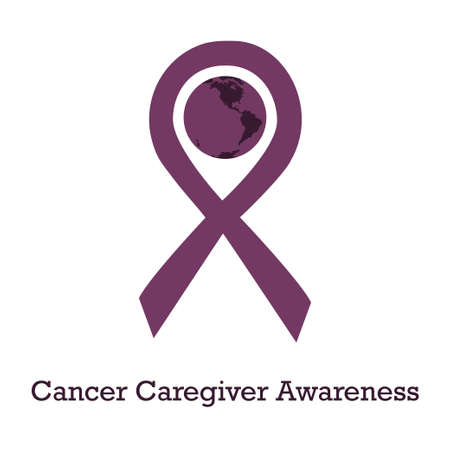 International day of cancer caregivers awareness vector illustration with plum ribbon traditional symbol and earth globe in similar colors. Perfect for badges, banners, ads, flyers on oncology problem Vectores