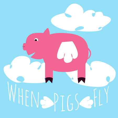When pigs fly idiom representation. Vector illustration of hog with wings in the sky