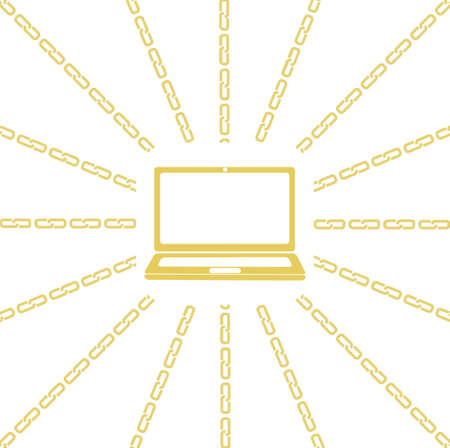 perimeter: Blockchain concept. Vector illustration with laptop computer emblem in the center and chain around the perimeter on white background.