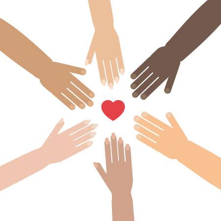 Vrijwilligersconcept met handen van verschillende huidtinten die een cirkel vormen rond de hartvorm. Stock vector illustratie voor liefdadigheid, mensheid, race problemen, teamwork, internationale vriendschap. Stock Illustratie