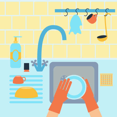 unwashed: Dish washing chores. Vector stock illustration of hands cleaning plate in a sink with usual kitchenware around in flat style.