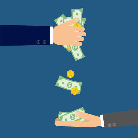 Hands holding money both dollar banknotes and coins. Vector illustration with one rich man paying the other.