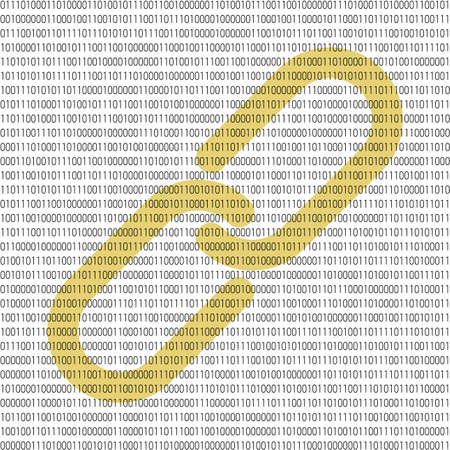 Binary blockchain concept. Vector illustration with chain emblem in the center and and 1 numbers as computer code on white background. Vector Illustration