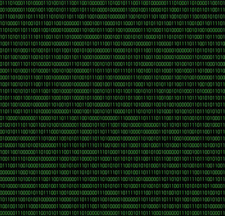 Binary seamless pattern? Vector illustration of computer data by and 1 in green on dark background