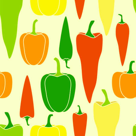 cayenne: Pepper seamless pattern. Vector stock illustration of different kinds of vegetable Illustration