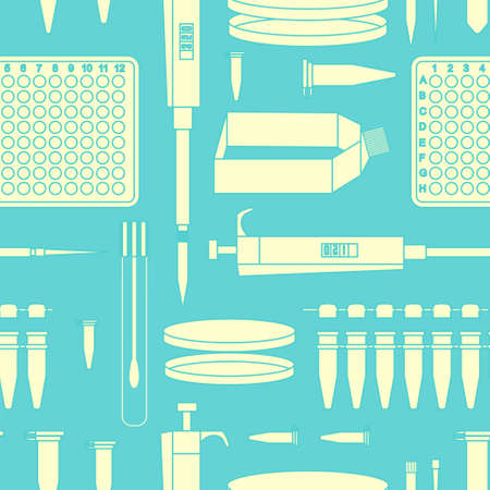 pcr: Pcr lab equipment seamless pattern. Vector stock illustration of laboratory flask and tube.
